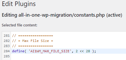 All-in-One WP Migration version 6.77 constants php - before change on line 284