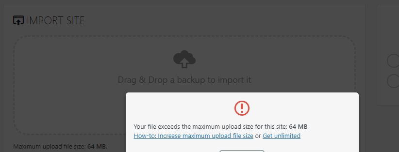Max upload file size issue using All-in-One WP Migration Plugin