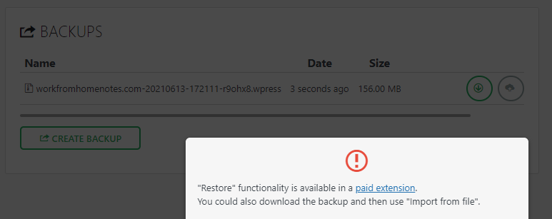 All-in-One WP Migration Restore functionally not available