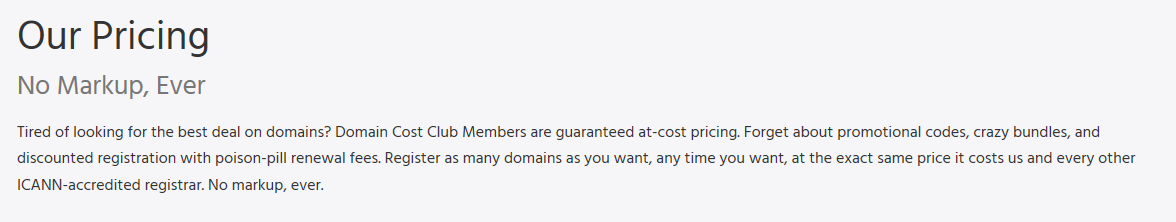 Domain Cost Club Pricing - No Markup ever