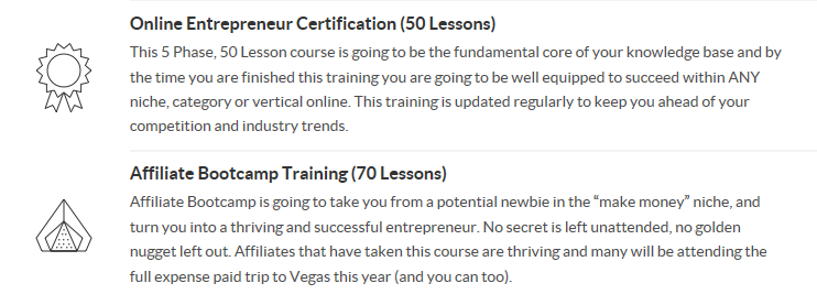 Wealthy Affiliate review - great for all affiliates: online entrepreneur certification 50 lessons and affiliate bootcamp training 70 lessons