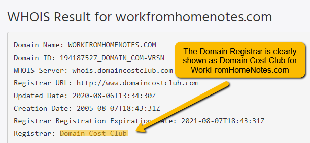 WHOIS Result for workfromhomenotes.com